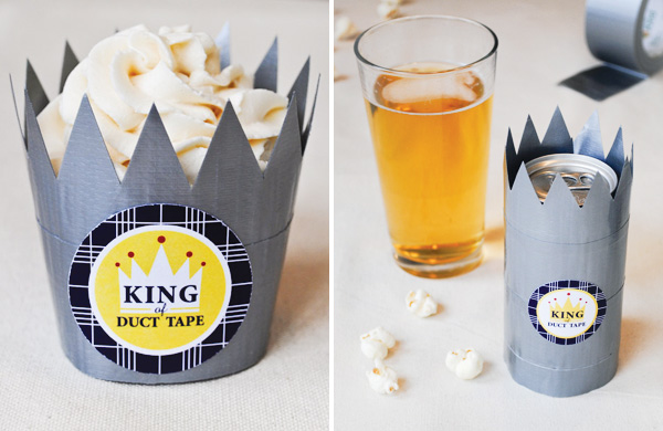 Duct Tape Treat Crowns. Simple cute gifts great for your Dad to put his favorite cupcakes and pretzels in. Learn how to do here.