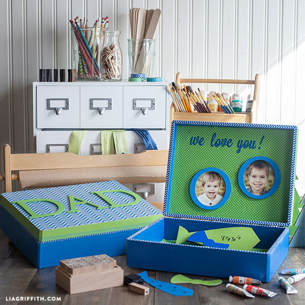 DIY Father's Day Treasure Box. What a great show box filled in love notes. I love this idea to tell how much father means to kids. Learn the tutorial here.