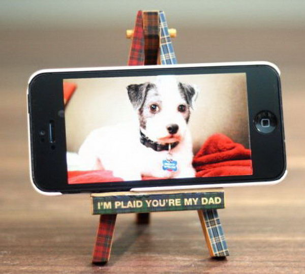 DIY iPhone Holder. A iPhone holder is useful for your Daddy to free his hands and enjoy the time to watch a video. Learn how to do this simple but cute iPhone holder here.