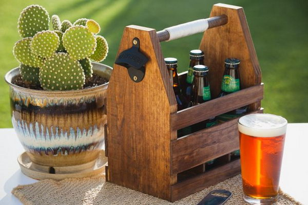 Wood Beer Caddy. This DIY wood beer caddy is great for Daddy's summer BBQS and a personalized gift for this coming Father's day. And I love the wall mounted bottle opener so much. What you need to do is giving it a lift by decorating this with beautiful colors or drawing. Learn the tutorial here.