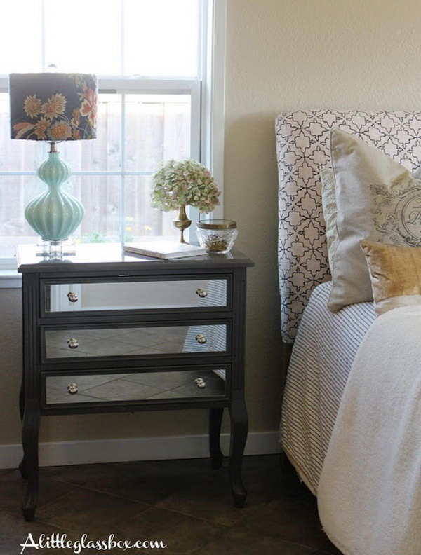 diy mirrored furniture. DIY Mirrored Night Stand. Furniture Pieces, The Epitome Of Glamour, Have Become Diy