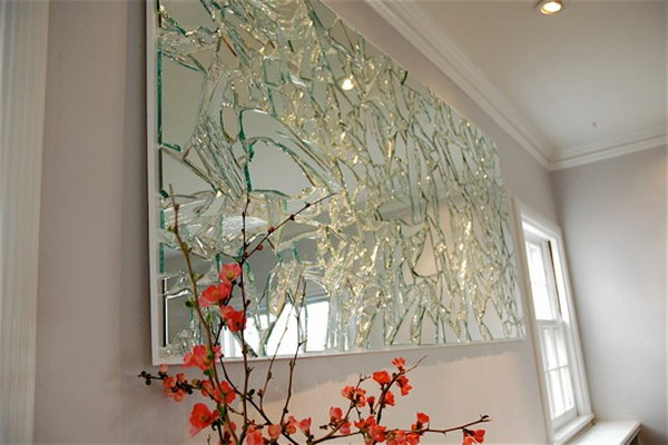 Broken Mirror Wall Art. The broken mirror never becomes a pile of trash. Give it a new life by carefully retrieve the pieces of mirror and arrange them on your plywood in whatever pattern you desire to create this stunning work of art.