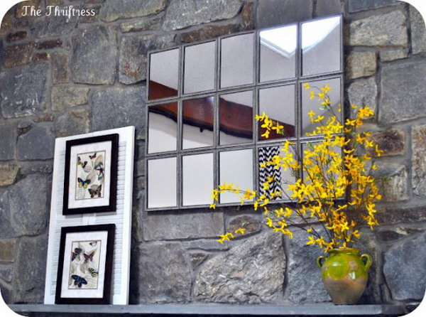 Mirror as a window. Arrange 15 small weatherized framed mirrors to create  this large tiled mantle version on the wall. Mirrors can make a illusion of the window. I t is a good choose for your garden.