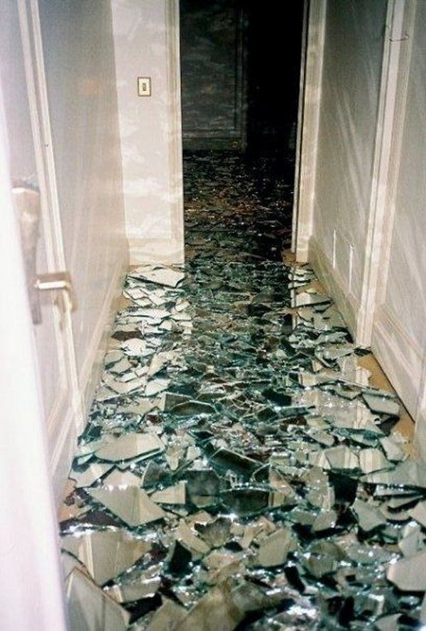 Cool Broken Mirror Bathroom Floor.