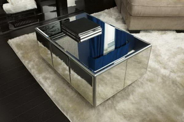 DIY Attractive Mirrored Coffee Table. This glamorous and attractive mirrored coffee table will be a fashionable addition to your living room. See how to create it here.