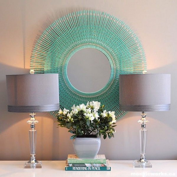 diy aquamarine sunburst mirror this is another idea about diy mirrored wall art you - Diy Mirror