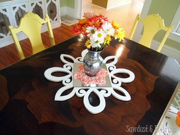 DIY Scalloped and Mirrored Table Centerpiece. If you are a fan of scroll saw projects, this fantastic mirrored table centerpiece will be a must have accessory to make for your living room.