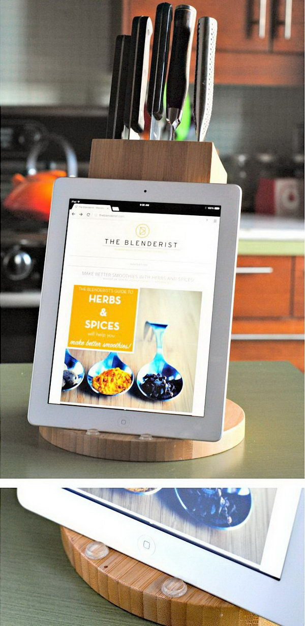 DIY knife block iPad stand.You can double the knife block as an iPad stand.Here is a step by step tutorial for your reference.