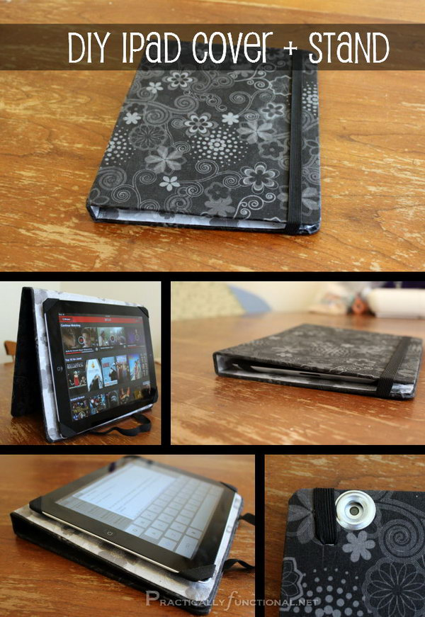 DIY fabric iPad stand. This iPad stand is so easy to make. All you need is an old binder, fabric and glue. The most important is that this stand can be double used as a cover. I love this iPad stand and case very much.