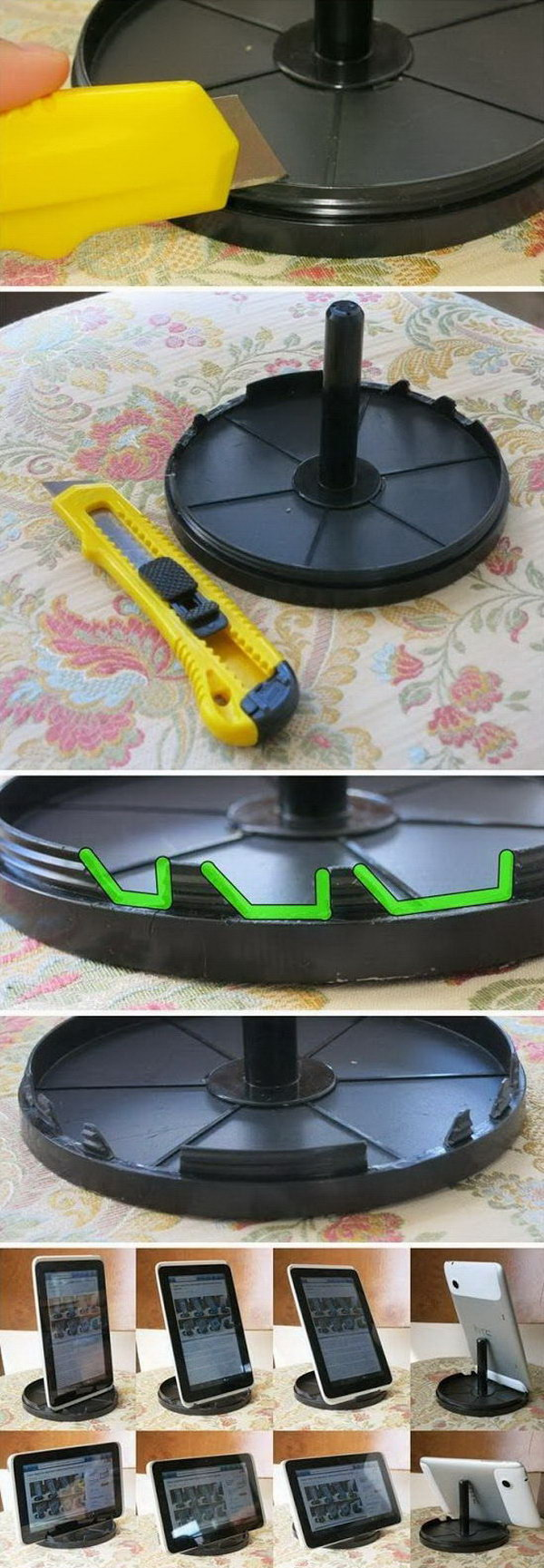 DIY CD spindle iPad stand. It's super easy to create an iPad stand out of the CD spinder.