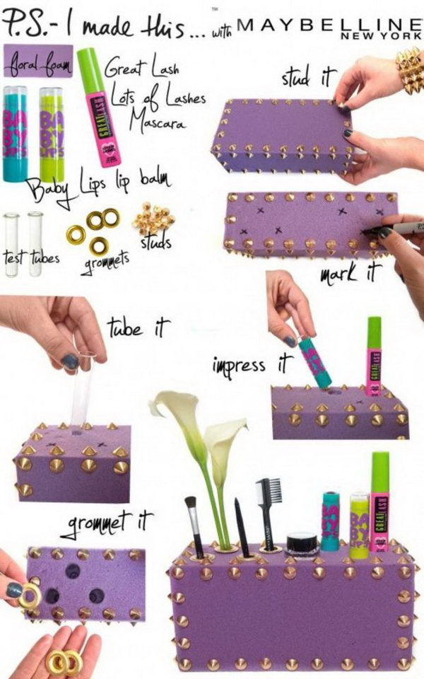 DIY makeup organizer from a foam box. All you need is a colored foam box and some decorative items. Drill some holes to hold your comb, makeup brushes, lipsticks or anything else.