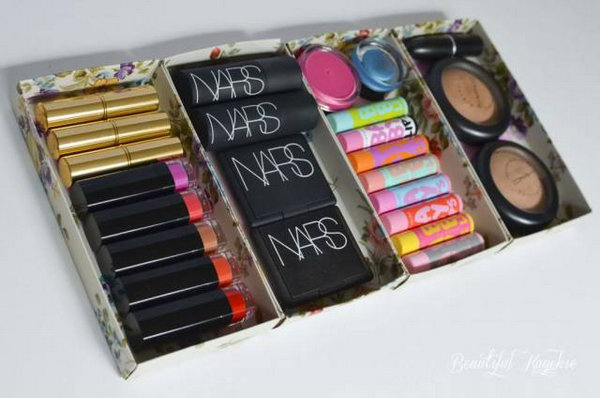 Gift boxes repurposed as makeup storage. Do you have countless empty boxes and packaging lying around after Christmas? Just discard them? No!!! Stick them together; you will get bigger and practical makeup storage.