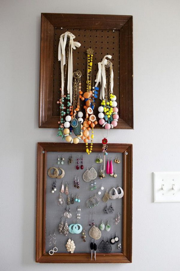 Old Frames Can Also Be Used To Hang Your Fashionable Jewellery Collection As