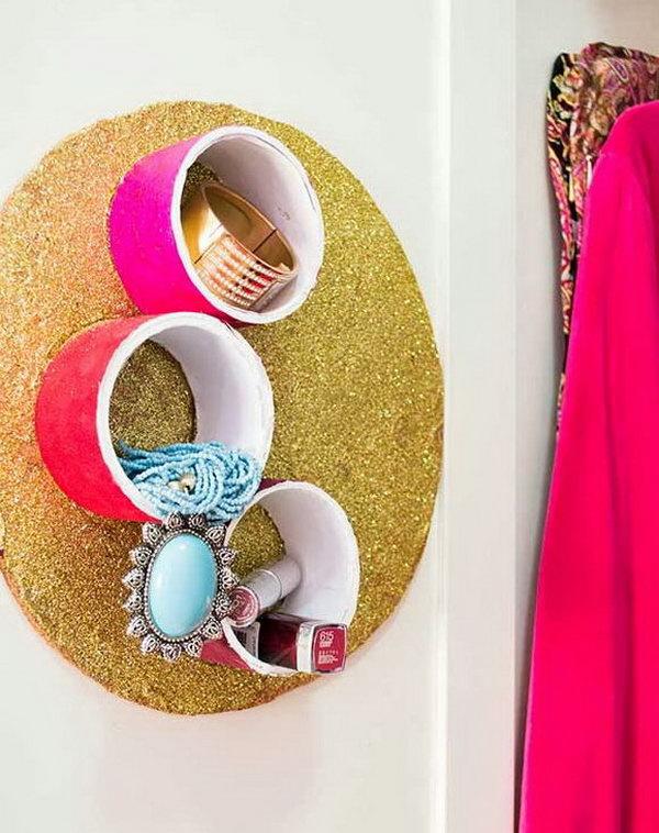 Tape rolls organizer for jewellery.