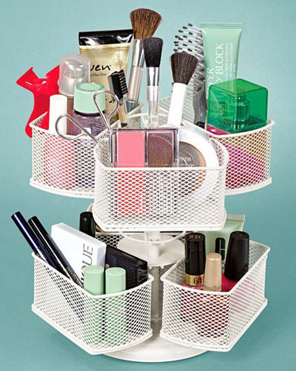 25 diy makeup storage ideas and tutorials hative diy makeup organizer from the lazy suan solutioingenieria Gallery