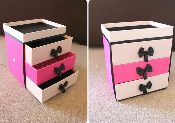 Being a pile of trash is the usual fortune of the shopping boxes after packing. Here is a cute way to reuse these beautiful shopping boxes as a new makeup storage shared by Peachfizz. She gives really good step by step instructions, with photos. Get one by yourself.