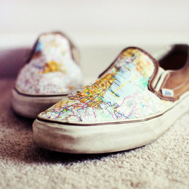 25 creative diy map projects hative map shoes add mod podge on the canvas shoes to glue and seal the map gumiabroncs Gallery