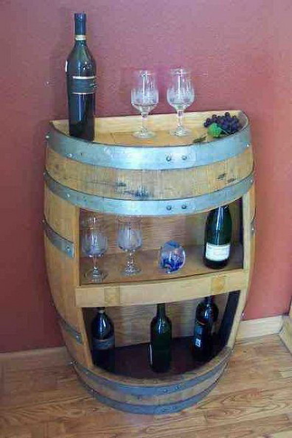 DIY Barrel Mini Bar. This mini wine bar is made from the old barrel. If you have a barrel in your garage, just take out and create one from yourself.