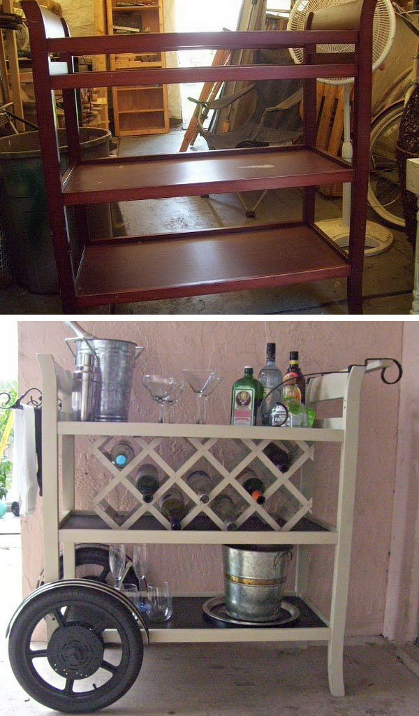 DIY Wine Bar Cart.A little paint for a baby changing table and turn it into a great new wine cart bar with wheels and metal scroll accents. See all the details here.