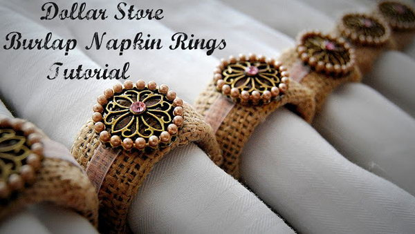 Burlap Napkin Rings. These DIY burlap napkin rings will be a feature for your Valentine's Day with a shabby chic look. Get the tutorial here.