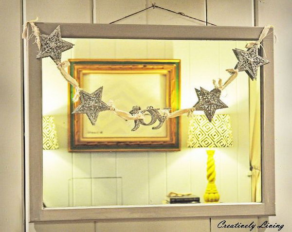 Dollar Store Sparkle Star Garland. Use some dollar store stars and old fabric to make this sparkle star garland. It only took you 10 minutes and two dollars.You could make it long enough to use on a hearth or maybe even your tree on the Christmas Day.