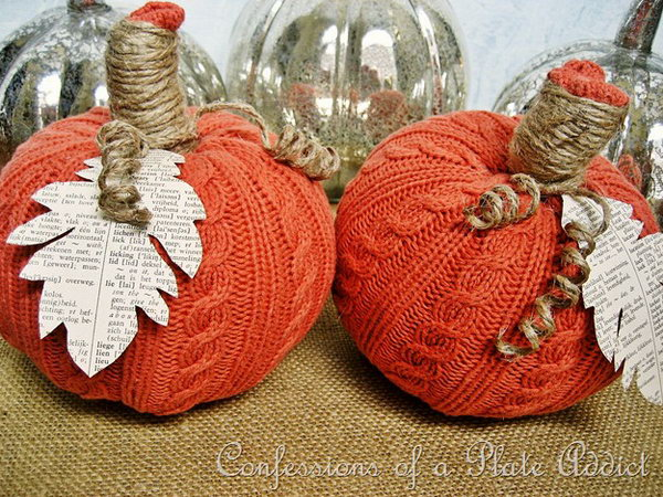 Easy Sweater Pumpkins. It is a fun and easy project to make these sweater pumpkins with dollar store faux pumpkins and a piece of sweater. It will be a perfect and fun decor on the Halloween Day.