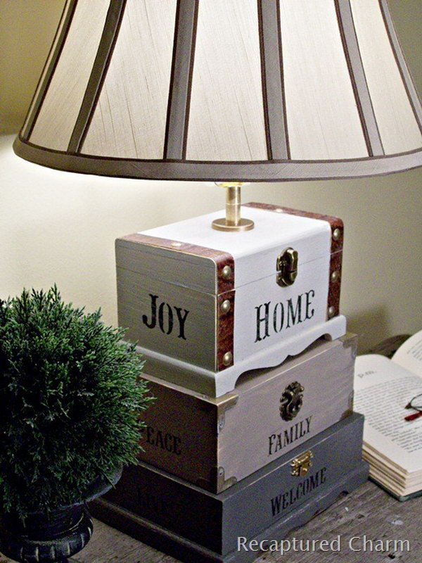 Craft Box Lamp. The little wooden trinket box from the dollar store does not just used as its own. You can paint them up the way you like and create a unique lamp for any room. Lamp kits can be found at any hardware store. Start to create one for your living room. See details here.