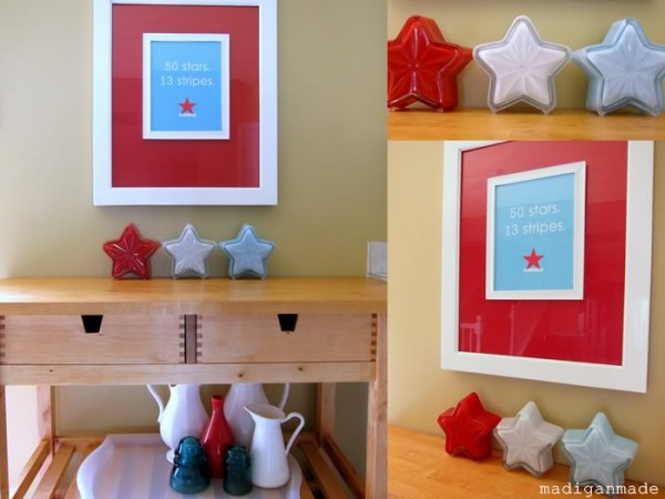 DIY Milk glass Stars. These milk glass stars are made out of dollar store star shaped candy dishes. They are the perfect patriotic decorative displays in your home.
