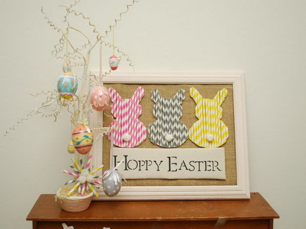 Paper Straw Easter Bunnies. A few inexpensive supplies + a little