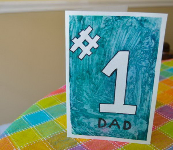 Hand Painted Number 1 Father's Day Card