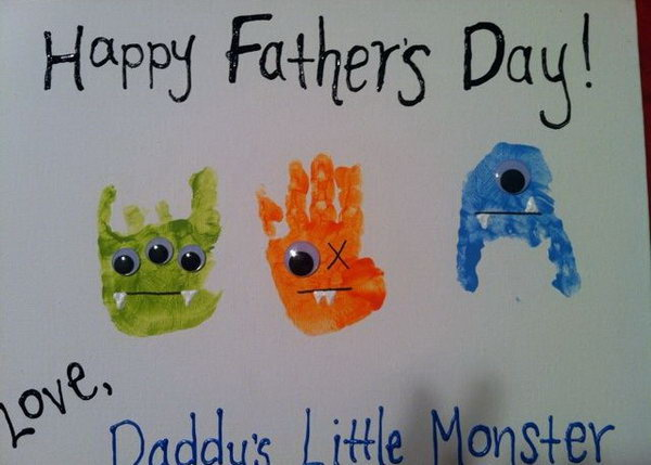 Handprint Little Monster Father's Day Card