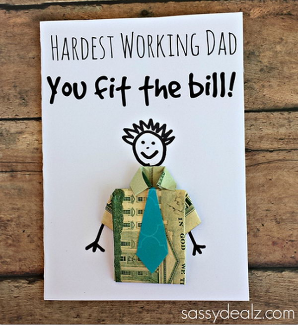 Dollar Bill Origami T Shirt Father's Day Card