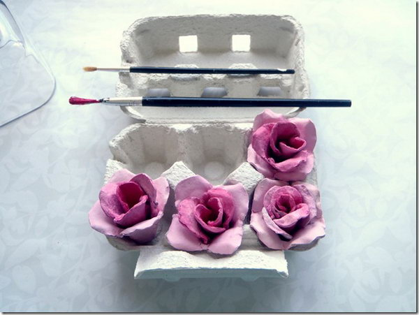 Egg Carton Roses. Pull cones from the egg cardboard, shape layers of rose petals and assemble them together to create the rough rose. Color the rose to create stunning visual effect to bring surprises to all your friends in this May.