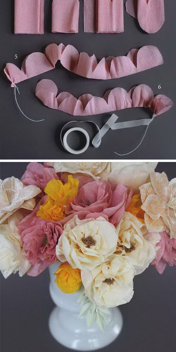 DIY Crepe Paper Flowers. Cut and fold the crepe paper to create the petal shape and form flower. Secure it with floral tape and pull edges of petals to create the stunning outlook of paper flowers displayed in flower vase in a dreamy and sweet look to catch your friends' attention.