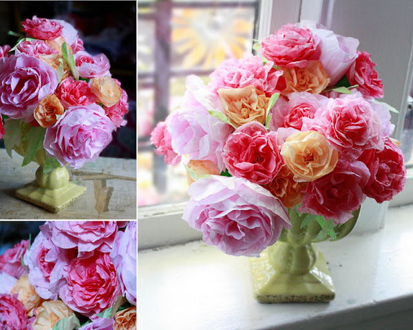 Coffee Filter Roses. Stick the spiral strip to the masking tape, squish to pleat down the strip. Wind the tape around the straw to make the stem. Just display them in exquisite arrangement in flower vase to create a gorgeous visual effect.
