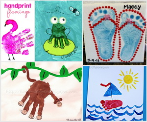 summer themed handprint and footprint art 25 and beautiful handprint amp footprint crafts for your 7909