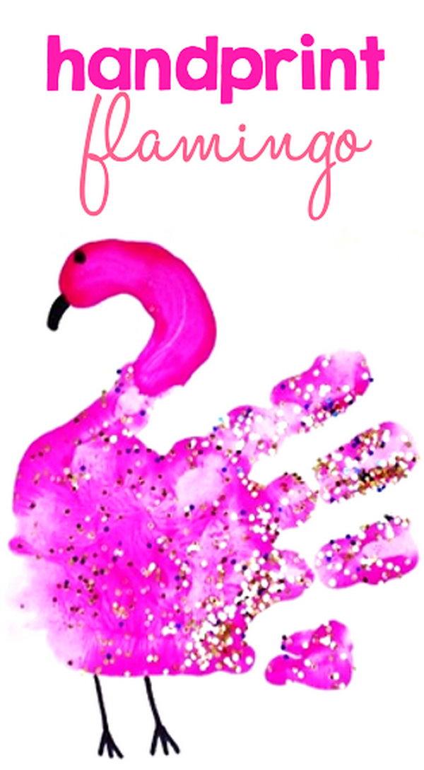 Easy Handprint Flamingo Craft for Kids.