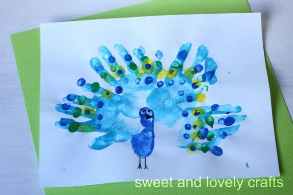 Handprint Peacocks.