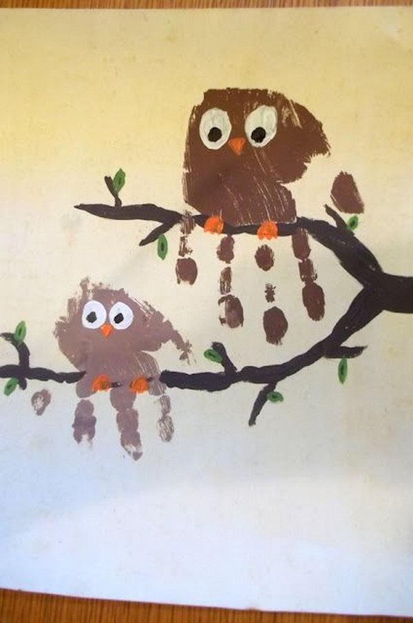 Handprint Owl Craft.