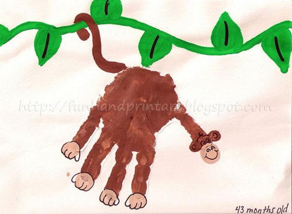 Handprint Monkey on a Vine.