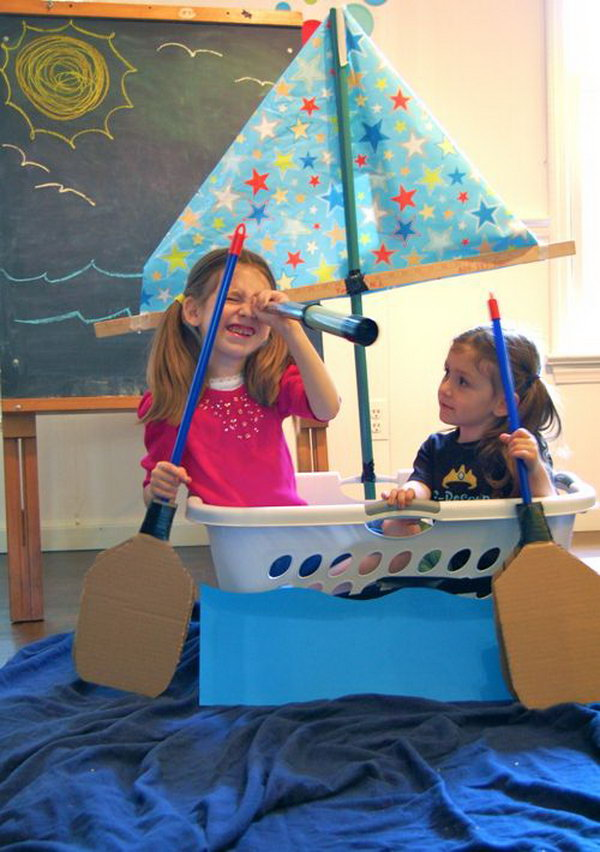 Laundry Basket Boats. Grab the laundry basket as a boat  and use the cardboard and broomstick as the paddles and ship off!  Your kids will  get more fun when traveling by this boat. See more here