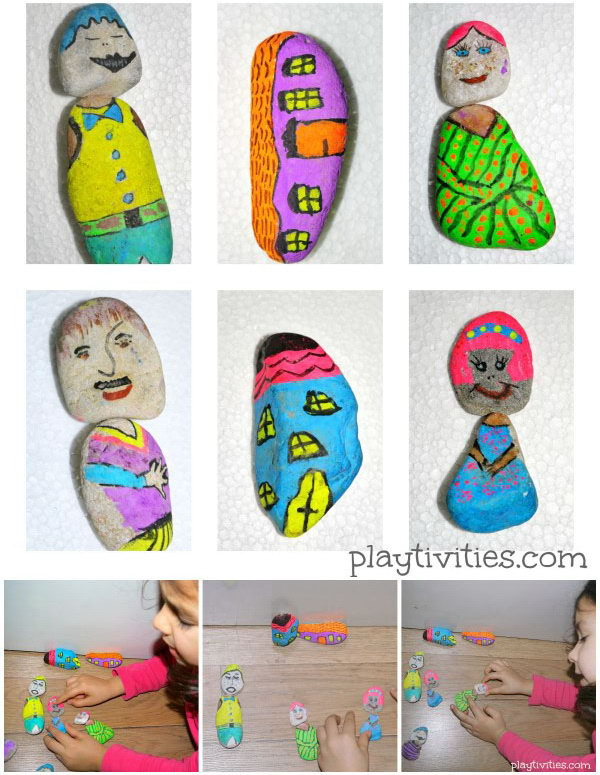 Story Telling Activity. This visual storytelling activity with painted stones  can  encourage child's imagination and boost creative thinking.  The combination of different characters can create different interesting stories.  Learn more here.
