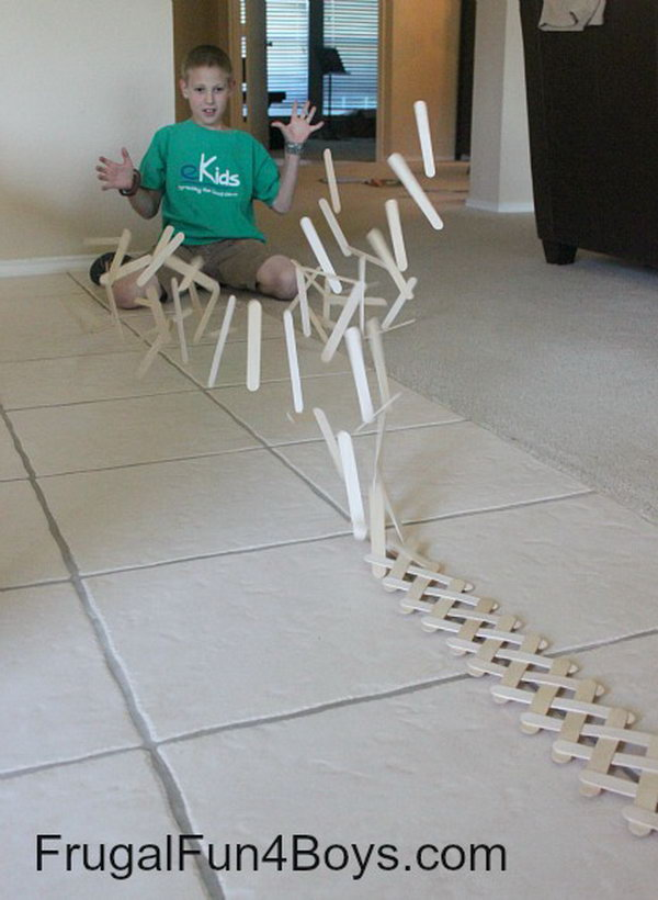 Build a Chain Reaction with Popsicle or Craft Sticks. Weave popsicle sticks or craft sticks together to build  this exploding chain reaction. This project is so cool and you can spend as much time putting together as you want.  Make the chain large or small.   I believe your boy will want to try. Get tutorials here.