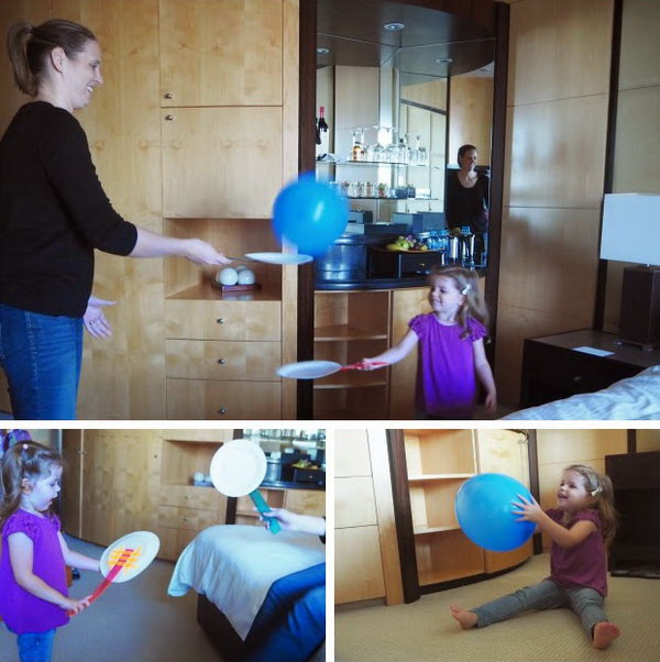 Paper Plate Balloon Tennis. Paper plates  ,plastic rulers ,colored paper tape  are all you need to DIY this  paper plate tennis. Then enjoy this balloon tennis game with your kids. Lots of fun to be  got quickly and easily and balloons are much safer to use indoor over balls.