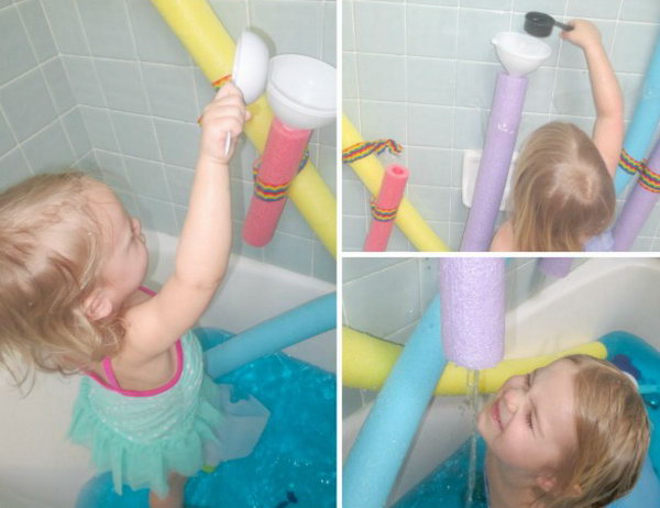 Game with Noodle Wall. There are sorts of fun with pool noodles. This water wall is no exception. Kids are so hanppy to get wet in the water, especially during the summertime. See more here.