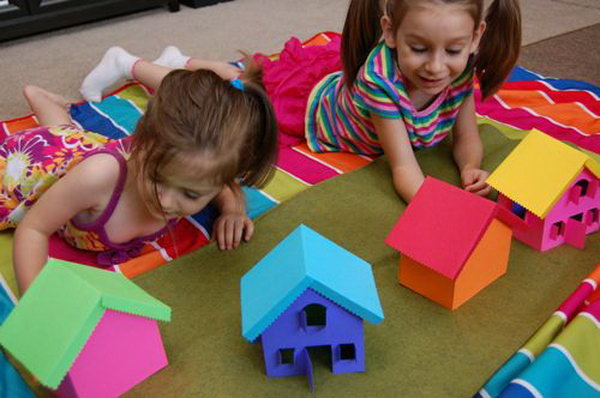 Build  Rainbow Village. Use your free colorful cardstocks to make this rainbow village. Use bits of velcro to hold the houses together. Your kids can  build and re build the rainbow village over and over again with different color combinations. Learn more here.