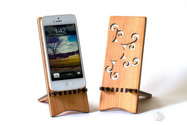 Beautiful iPhone Wood Stand. This iPhone stand is perfect to display your iPhone at a nice angle while it sits on your desk. In addition, the pieces of stand can slide apart easily to make it travel friendly.