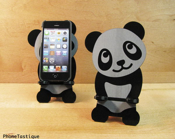 Adorable Panda iPhone Stand. This outstanding iPhone stand is perfect to display your iPhone device.  It looks great even when it's not in use. It is functional and user friendly.