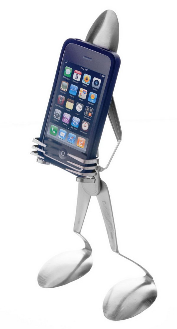 iPhone Stand Made from Fork and Spoon
