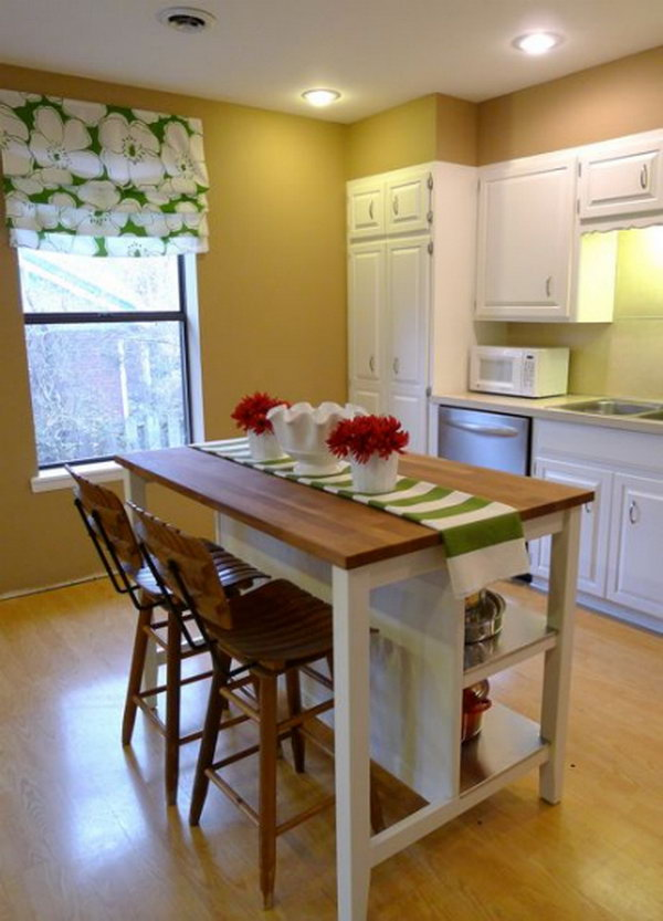 Budget Friendly Option. Love the island from IKEA. There's no need to spend tons on custom cabinetry and granite counters, especially on a kitchen island. The island was a breeze to assemble and really high quality and very sturdy.